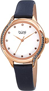 Burgi Swarovski Colored Crystals Women's Watch - Genuine Leather Skinny Strap – Studded Bezel and Dial with Embossed Pattern – Japanese Quartz - BUR239