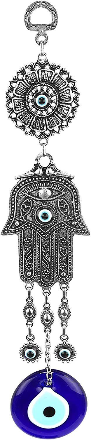 Aeon Design Evil Eye Protection Ornament Good Luck and Blessings Hamsa Fatima Holy Hand with Evil Eye Hanging Charm Decoration for Car Home and Office Handmade Turkish Ornament Best Gift Idea 1 Piece