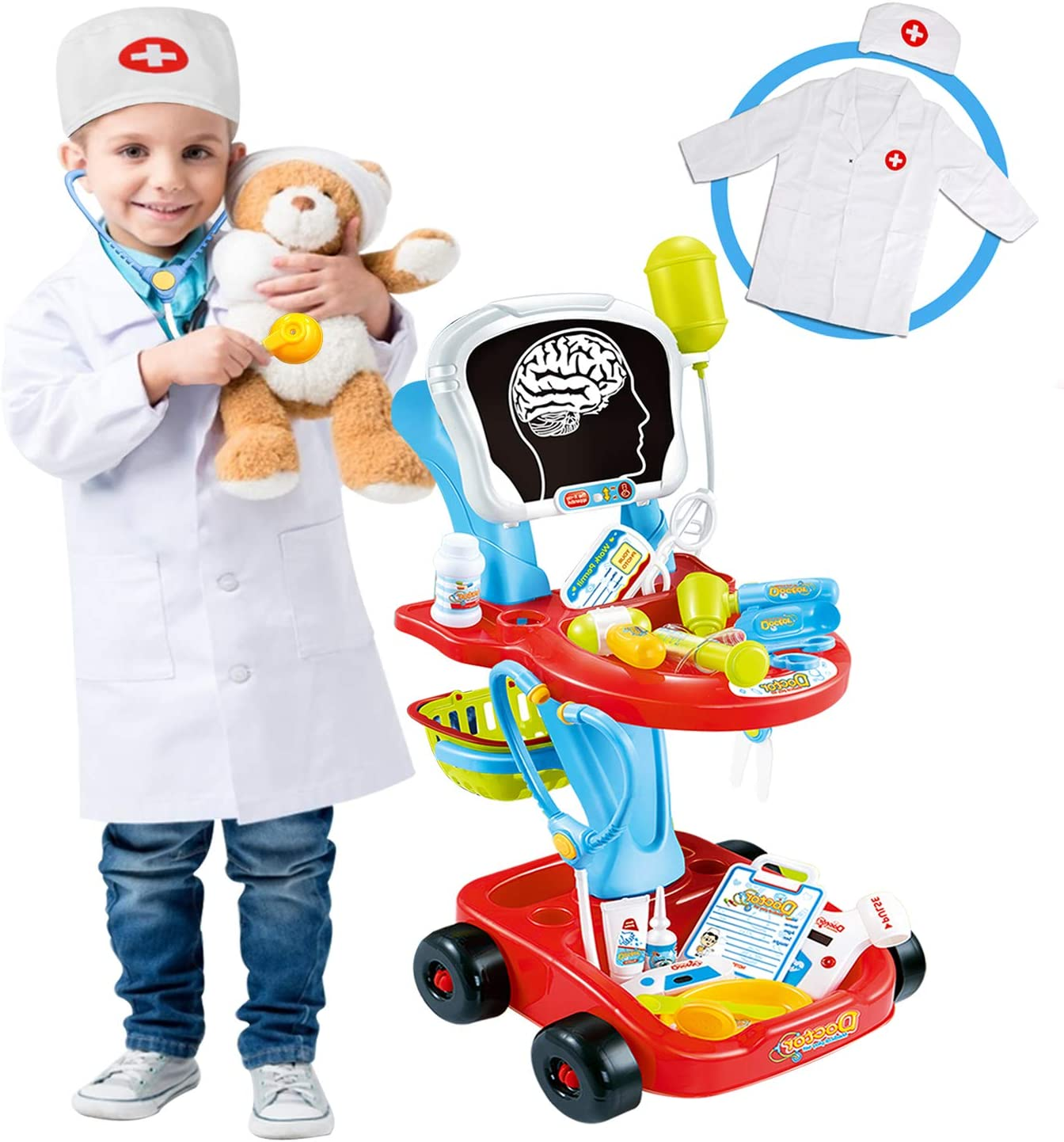 Doctor Cart Kit for Kids New Free Shipping Beauty products with Stethoscope CoatLight X
