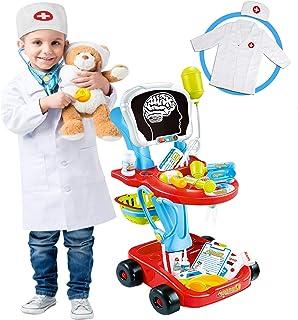 Kit de carrito médico para niños con estetoscopio Doctor Coat Light X-Ray Trolley de doble piso, disfraz de médico, juguetes de simulación de juego para niños pequeños, niños y niñas de 3, 4 y 5 años