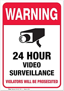 "(2 Pack) Video Surveillance Vinyl Sign Sticker - 7x10"" Sticker Self-Adhesive Decal Poster - Weatherproof, by ARMO"