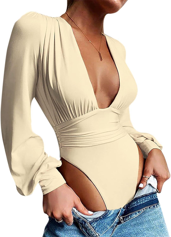 ZGMYC Women Sexy Deep V Neck Bodysuit Elegant Puff Sleeve Bodycon Leotard Wrap Slim Body Top Jumpsuit