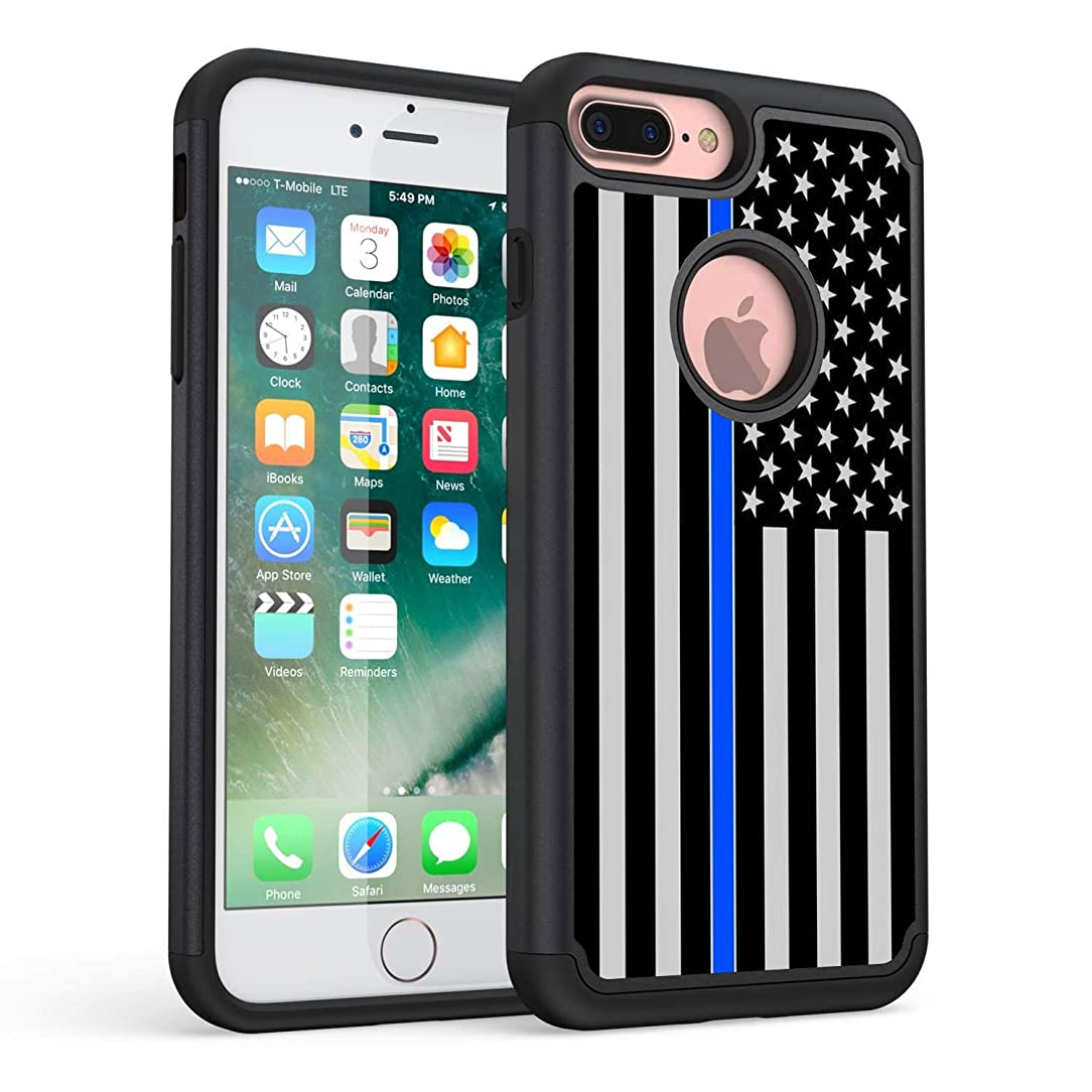 iPhone 7 Plus Case,iPhone 8 Plus Case,Rossy Thin Blue Line US Flag Design Slim Dual Layer Hard Case with Soft Tpu Interior High Impact Protection Case for Apple iPhone 7 Plus 2016 / iPhone 8 Plus 2017