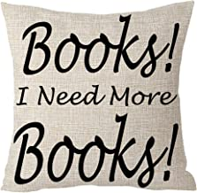 ASTIHN Books I Need More Books Reading Inspirational Motto Cotton Linen Throw Pillow Cover Cushion Case Home Chair Office Decorative Square 18 X 18 inches