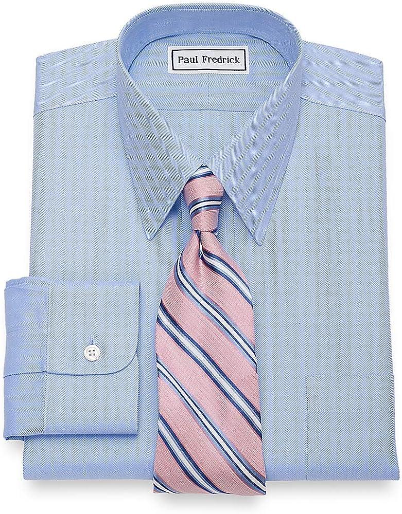 Paul Fredrick Men's Non-Iron Cotton Herringbone Straight Collar Dress Shirt