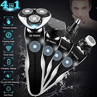 Electric Razor, Electric Shavers for Men, 4 in 1 Dry Wet Waterproof Mens Rotary Shaver Portable Face Shaver Travel Rechargeable Beard Trimmer USB Cordless Nose Trimmer Facial Cleaning Brush for Dad