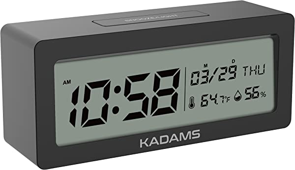 KADAMS Battery Digital Alarm Clock With Snooze Backlight Calendar Month Date Day Temperature And Humidity Low Battery Indicator Small Portable Travel Clock For Shelf Desk Table Black