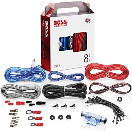 Amazon.com: BOSS Audio Systems KIT2 8 Gauge Amplifier Installation Wiring  Kit - A Car Amplifier Wiring Kit Helps You Make Connections and Brings  Power To Your Radio, Subwoofers and Speakers: Car ElectronicsAmazon.com