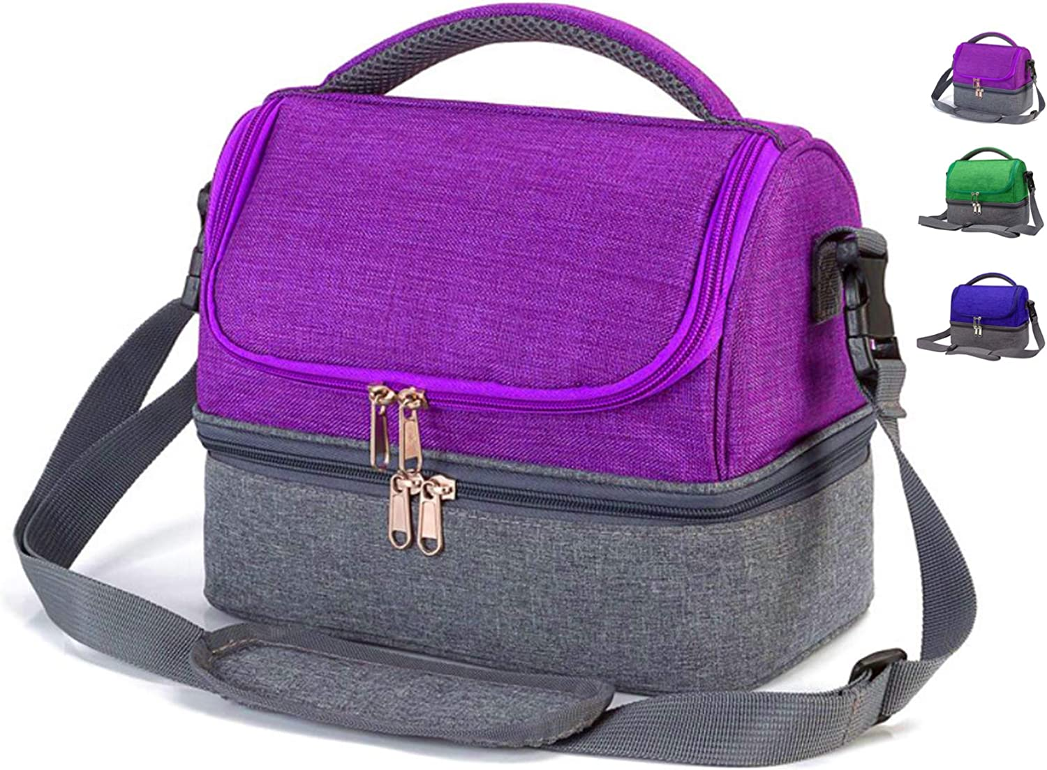 Insulated Lunch Box Bag for Kids Boys Girls Small Lunch Cooler Bags for Women Men Adults, Dual Compartment Cooler Tote Lunch Bag with Strap for School Work Camping Beach Picnic (Purple)