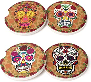 Avamie Car Coasters 4 Pack, Car Cup Holder Coasters, Absorbent Ceramic Stone Coasters for Car, 2.56 inch, Day of The Dead ...