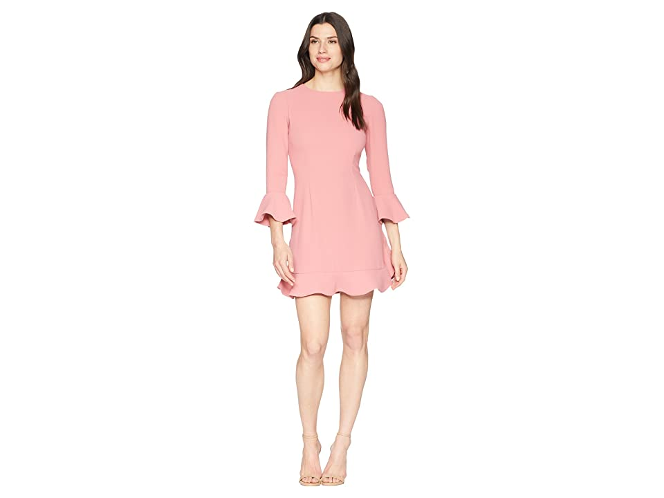 JILL JILL STUART Crepe Short Dress with Bell Long Sleeves (Rosewood) Women