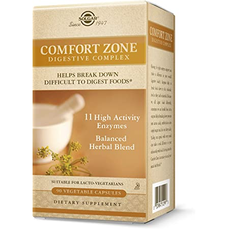 Solgar Comfort Zone Digestive Complex, 90 Vegetable Capsules - Enzymes for Digestion - Support The Body's Natural Digestive Process - Break Down Difficult To Digest Foods - Kosher - 90 Servings