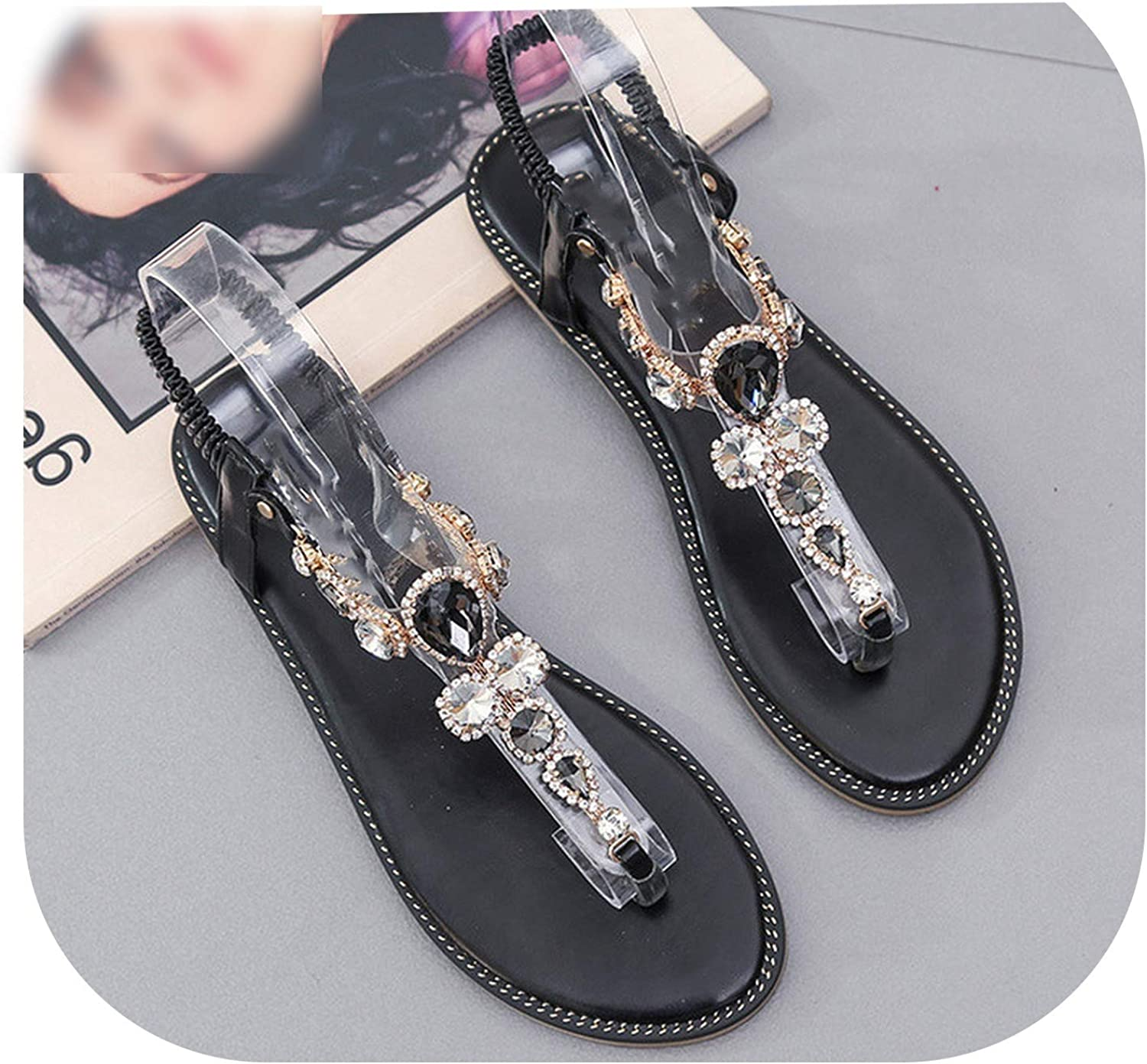 Woman Sandals Women shoes Rhinestones Chains Thong Crystal Flat Heels Comfortable Sandals