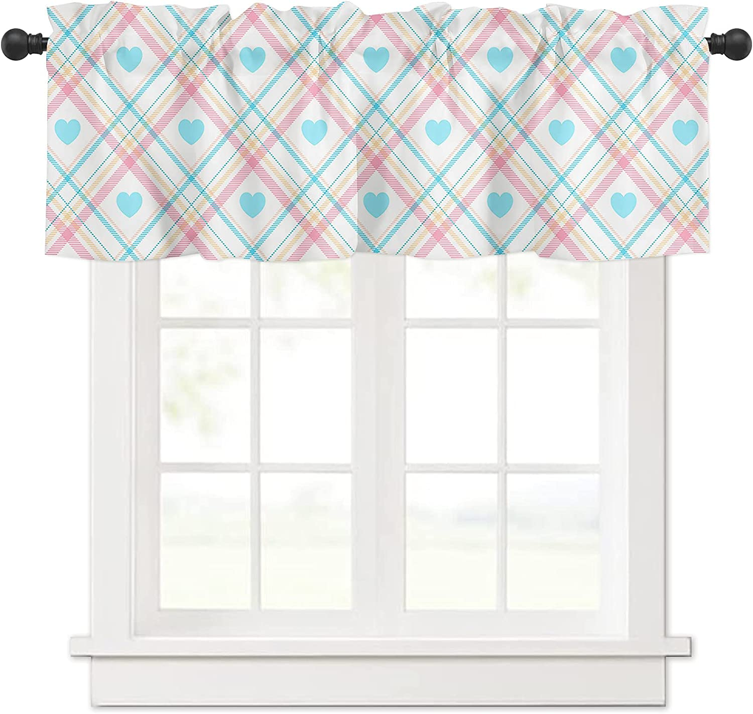 Blue Love Heart Pink Lines Windows Treatmen Valances Curtain for Max 67% OFF Cheap mail order specialty store