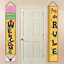 Classroom Decorations - Back to School Supplies - Welcome Ready to Rule Hanging Fabric Banners Flags Sign - Classroom Decor for Math Teachers Preschool Kindergarten Outdoor