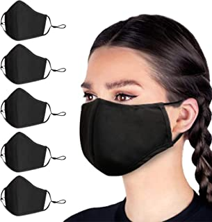 Cotton Fabric Face Mask for Men Women, with 2 Elastic Ear Loops, Cloth Masks Washable, Safety Mouth Protection, Anti-Dust, Wind-Proof Nose Covering, Unisex Black Masks for Outdoors (5 PCS)