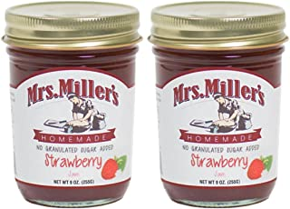 Mrs. Miller's Amish Homemade Strawberry No Granulated Sugar Added Jam 9 Ounces - Pack of 2 (No Corn Sugar)