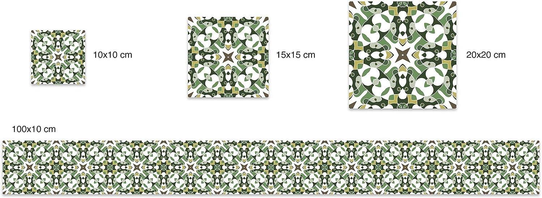 Stikers per Pareti Panorama Adesivi per Piastrelle in Vinile PVC Set di 72 Piastrelle di 10x10 cm Piastrella Idraulica Tipo Orientale Verde Piastrelle Adesive Cucina Bagno Mattonelle Adesive