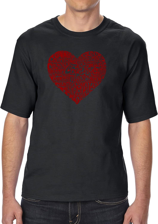 LA POP ART Men's Tall and Long Word Art T-Shirt - Country Music Heart