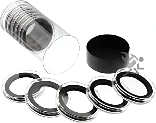 Black Capsule Tube & 10 Air-Tite High Relief 38mm Black Ring Coin Holders for 2oz Queen's Beast