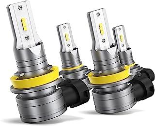 HONCS 9005/HB3 H11/H8 LED Headlight Bulbs Combo, 300% Brighter Wireless LED High Low Beam, 6500K Cool White LED Headlight ...