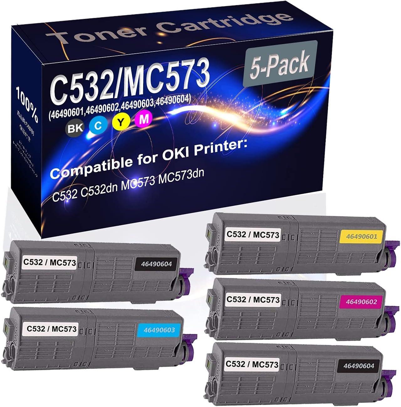 5-Pack (2BK+C+Y+M) Compatible C532 C532dn MC573 MC573dn Laser Toner Cartridge (High Capacity) Replacement for OKI C532/MC573 (46490604 46490603 46490601 46490602) Printer Toner Cartridge