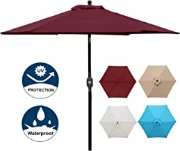 Blissun 7.5 ft Patio Umbrella, Yard Umbrella Push Button Tilt Crank (Red)