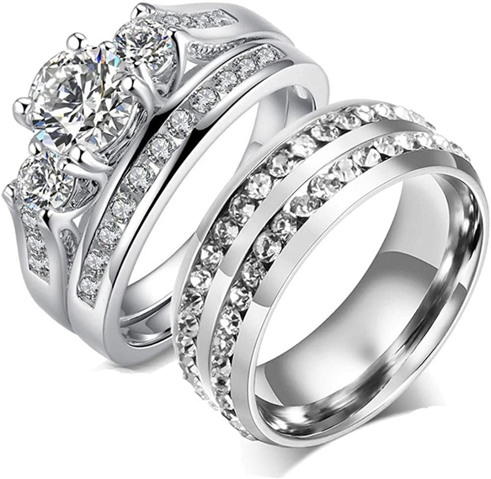 Couple Ring Bridal Set His Hers White Gold Plated CZ Stainless Steel Wedding Ring Band Set