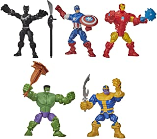 Hasbro Marvel Super Hero Mashers Battle Mash Collection Pack, Includes Iron Man, Black Panther, Thanos, Hulk, and Captain America (Amazon Exclusive) Characters in 6-inch Figure Form