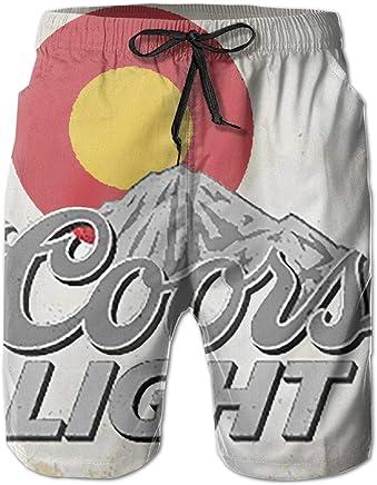 ff9cff304cabc Amazon.com: Colorado Coors Light Flag Banner Mens Beach Surfing Board Shorts  Swim Trunks Pants: Clothing