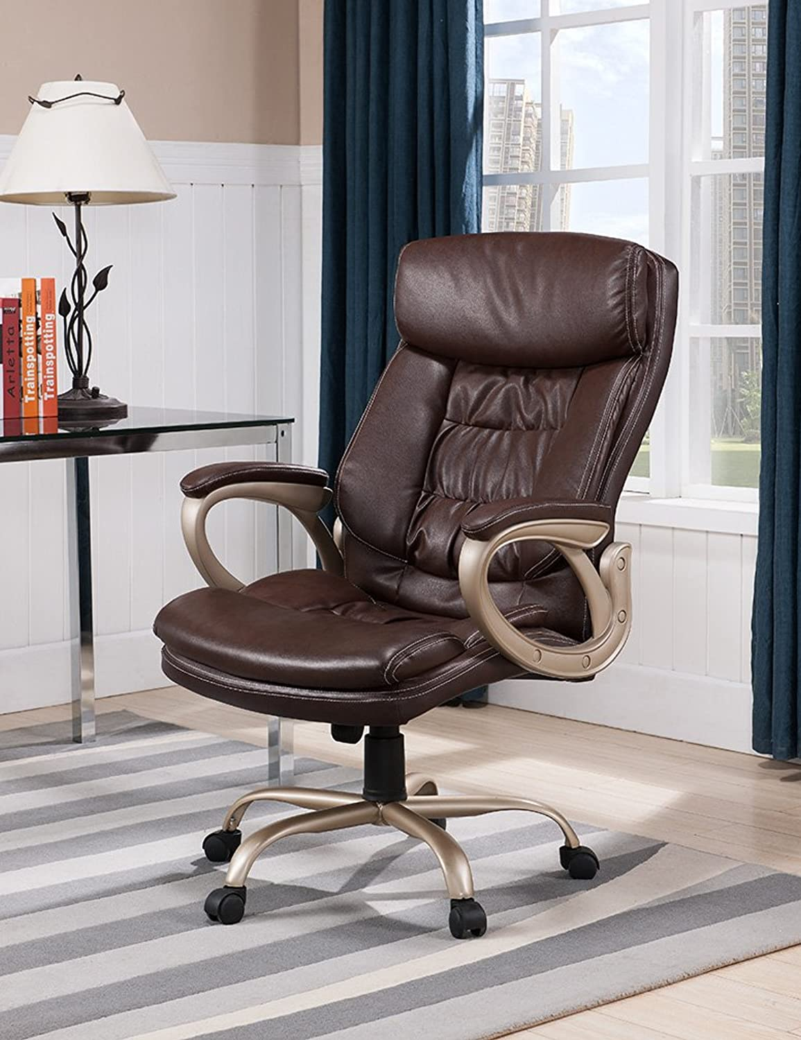 Kings Brand Brown and Champagne PU Leather Executive Office Chair