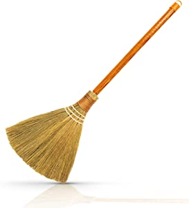 HNC ECOLIFE Small Natural Whisk Sweeping Hand Handle Broom - Vietnamese Straw Soft Broom for Cleaning Dustpan Indoor - Outdoor - Decorative Brooms - Wooden Handle - 7.87'' Width, 24.4