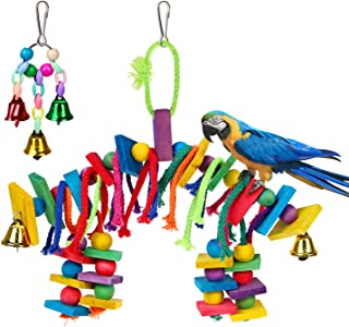 Petsvv 2 Pack Bird Parrot Toys Bird Chew Toy - Multicolored Wooden Block Bite Toys for Small and Medium Birds