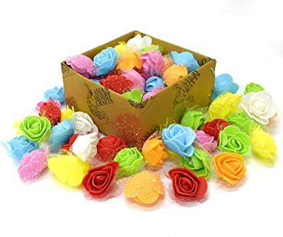 Asian Hobby Crafts Artificial Foam Roses (Multicolour, 50 Pieces)