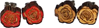 Bisbee Jewel - Laser Carved Wooden Rose Stud Earrings - 2 Pack - Red & Natural Pine Wood