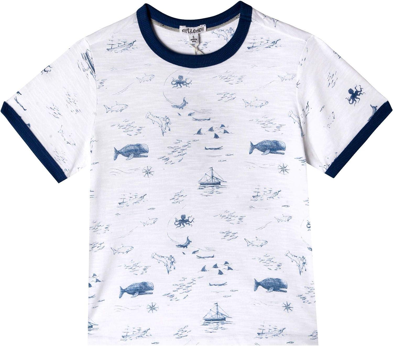 art & eden Boy's 100% Organic Cotton Crew Neck T-Shirt, Pirate Map, 2