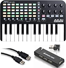 Akai Professional APC Key 25 - Ableton Live Controller with Keyboard + 4-Port USB 2.0 Hub + Hosa USB- Type High Speed USB Extension Cable