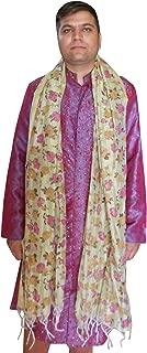 Men Scarf Indian Dupatta Handmade Designer Flower Print Scarves Party Stole