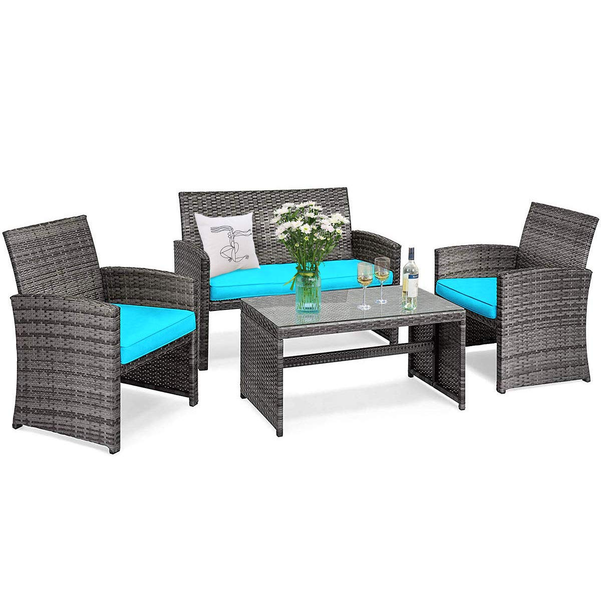 Goplus Rattan Furniture Set, 4 Pieces Outdoor Wicker Conversation Sofa Set with Cushions and Table for Garden Yard Patio B...