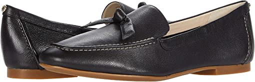 Black Soft Grainy Leather/Knot Bow/Natural Stitch