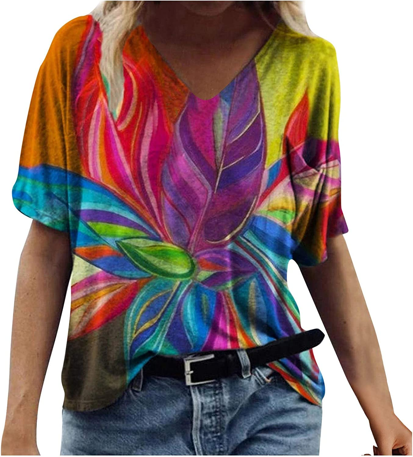 Jaqqra Summer Tops for Women, Womens Fashion Floral Printed V Neck T-Shirts Casual Short Sleeve Blouse Tops Tunic