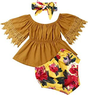 Toddler Short Outfits, Infant Kids Baby Girl Off Shoulder Lace Ruffle Sleeve Crop Tube Tops+ Floral Shorts +Headband