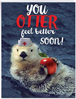 Otterly Awesome - Big Get Well Soon Notecard with Envelope (8.5 x 11 Inch) - Cute Doctor Otter Thinking of You Greeting Card - Furry Animal Themed Feel Better Notecard J6574DGWG