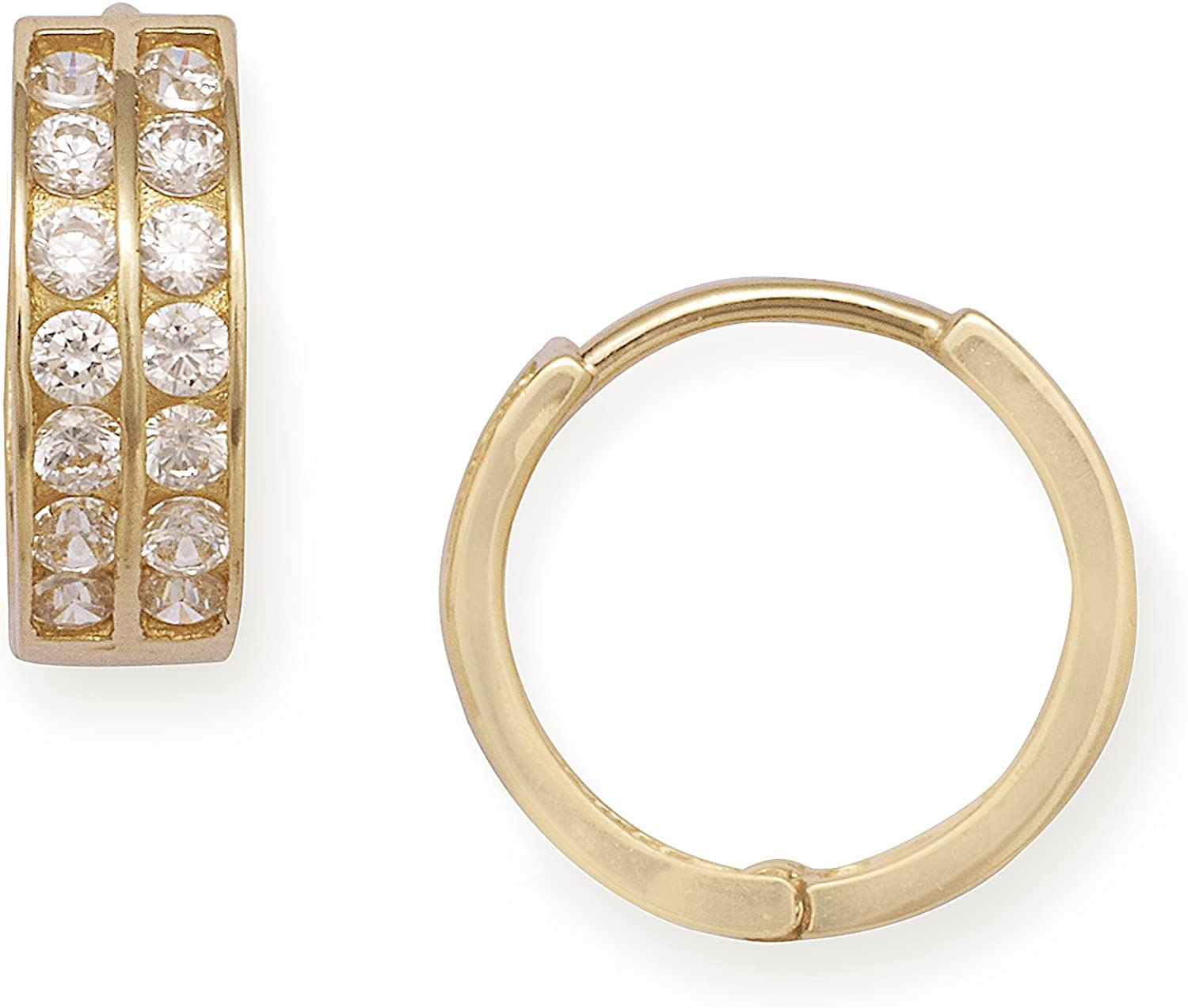 14ct Yellow gold Cubic Zirconia Small 2 Row Hinged Earrings - Measures 11x11mm