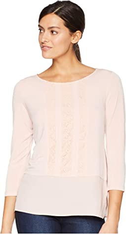 Long Sleeve Knit Top w/ Lace Detail