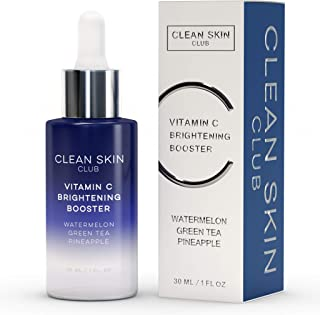 Clean Skin Club Vitamin C Brightening Booster | Pineapple, Watermelon & Green Tea | Natural Anti Aging Collagen Stimulating Serum | Acne, Scars, Sun Damage, Wrinkles & Age Spot Treatment