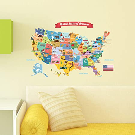 map of USA classroom sign United States wall decal large wall decal classroom wall decor classroom wall decal USA decal america decal