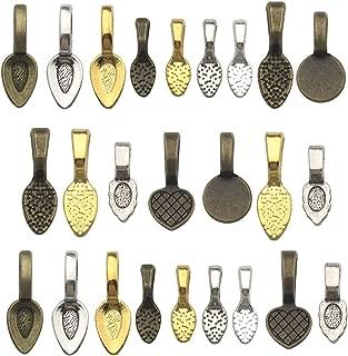 130pcs Mix Color Spoon DIY Oval Glue on Bails-Small Pendant Bails-Jewelry Bails For Pendant Making Scrabble Or Glass Cabochon Tiles Pendants (130pcs Mix)