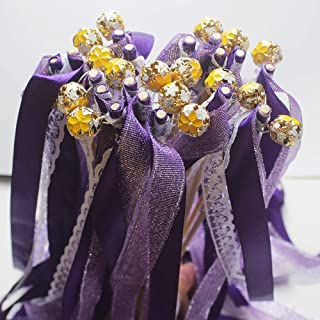 Wedding Silk Wish Wands Ribbon Streamers with Bell Fairy Stick Party Favor for Wedding Baby Shower Holiday Celebration Glittery Purple Lace 24pcs