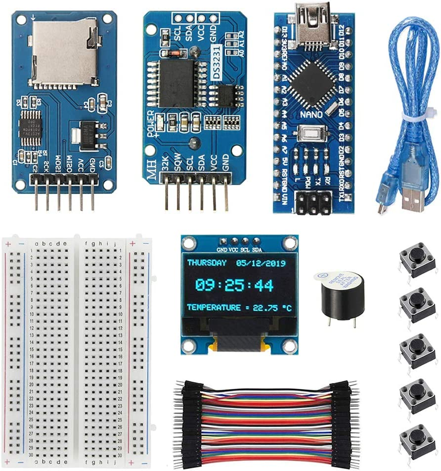 WayinTop Real Time Clock Kit with Tutorial for Arduino, DS3231 AT24C32 Clock Module + Micro SD Card Driver + Nano V3.0 Development Board + OLED 128X64 Display + Buzzer + Breadboard Jumper Wires
